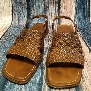 Sesto Meucci Brown Woven Sandals